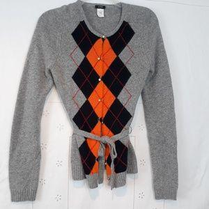 J. Crew argyle cashmere blend cardigan